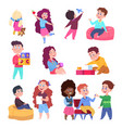 little children play toys and chat cartoon vector image vector image