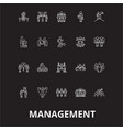 management editable line icons set on black vector image vector image