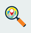 map inside magnifier flat icon vector image