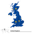 Map of United Kingdom with European Union flag vector image