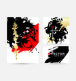 modern hand drawn banners with black gold and red vector image vector image