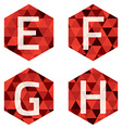 Modern Style White Alphabets On Red Hexagon vector image vector image