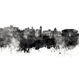 Nice skyline in black watercolor on white vector image vector image