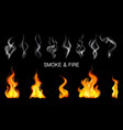 realistic steam smoke fire flame icon set vector image vector image