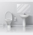 realistic toilet modern 3d bathroom interior with vector image