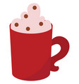 red mug with coffee on white background vector image vector image