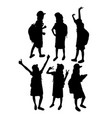 school children activity silhouettes vector image