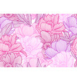 seamless pattern with linear peonies vector image