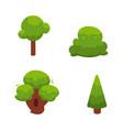 set of flat cartoon comic green summer trees vector image