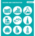 set of round icons white Housing and construction vector image