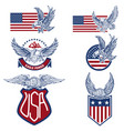 set of the usa labels with eagles emblems with vector image vector image