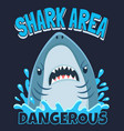 shark area poster attack sharks ocean diving and vector image vector image