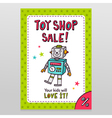 Toy shop sale flyer design with happy vintage toy vector image