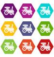 toy train icon set color hexahedron vector image vector image