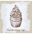 vintage background Hand drawn sweet cupcake c with vector image vector image