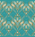 vintage floral striped seamless pattern turquoise vector image vector image