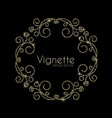 vintage swirl ornament vignette elegnat gold vector image