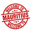 welcome to mauritius red stamp vector image vector image