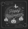 Happy Halloween typography on chalkboard design vector image