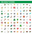 100 golf icons set cartoon style vector image vector image