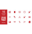15 digital icons vector image vector image
