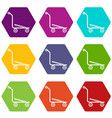 airport trolley icons set 9 vector image vector image