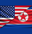 america flag and north korea flag background vector image vector image
