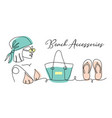 beach accessories banner poster vector image