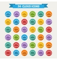 Big set of thirty six white cloud shapes vector image vector image