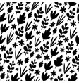black leaves silhouettes pattern vector image