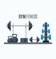 bodybuilding equipment flat design icons vector image
