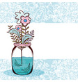 bouquet of flowers in jar vector image vector image