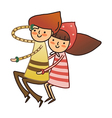 Boy and Girl sitting vector image vector image