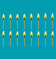 burning match animation sprite on blue background vector image vector image
