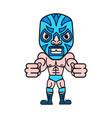 cartoon mexican wrestler luchador pose vector image vector image