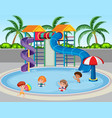 children at the water park vector image