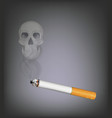 cigarette with skull smoke vector image vector image
