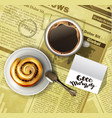 coffee cup on a newspaper vector image vector image