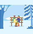 couple in winter park dating man and woman vector image vector image