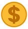 dollar symbol gold coin vector image vector image