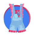 fashion stylish denim overalls icon vector image vector image