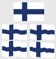 Flat and Waving Flag of Finland vector image vector image