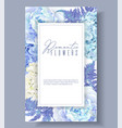 floral blue frame vector image vector image