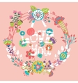 Floral Love You with wreath vector image vector image