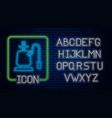 glowing neon hookah icon isolated on brick wall