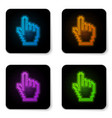 glowing neon pixel hand cursor icon isolated on vector image