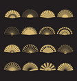 gold hand fan icons hand fan isolated vector image