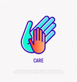 hand of adult holds childs hand thin line icon vector image
