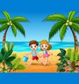 happy children running on beach vector image vector image