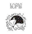 home scandinavian with sleeping fox vector image